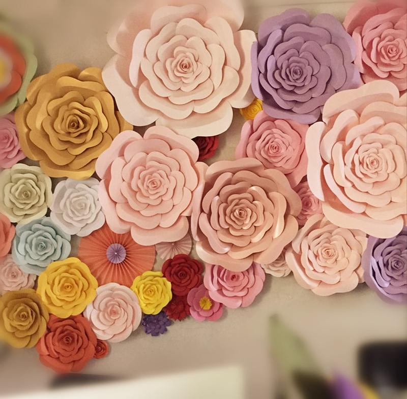 Artificial Large Rose Paper Flower DIY Half Made Paper Flower For Home Decoration Wedding Decorations Background Wall Rose Photography Props