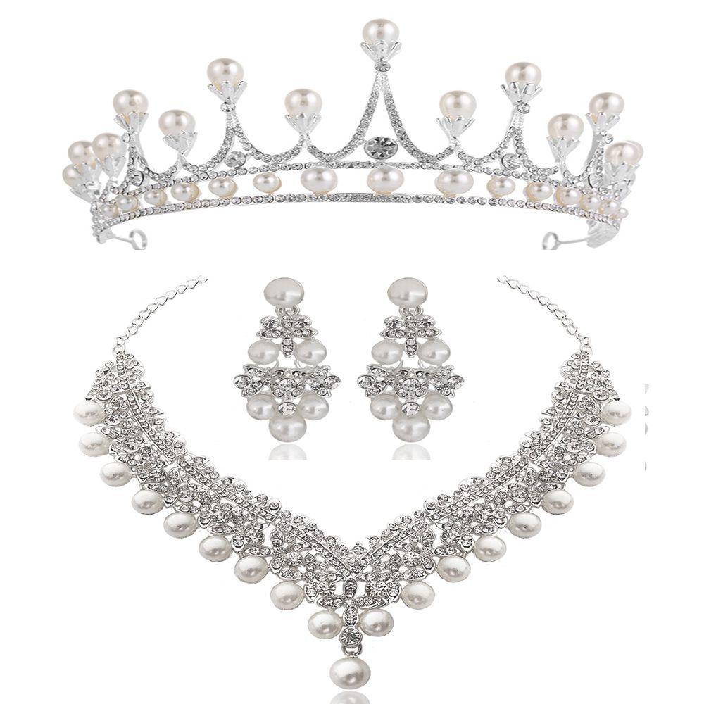 White Crystal Pearl Crown Earrings Necklace Jewelry Sets Bridal Wedding Jewelry Elegant Fashion Cubic Zirconia diamond jewelry