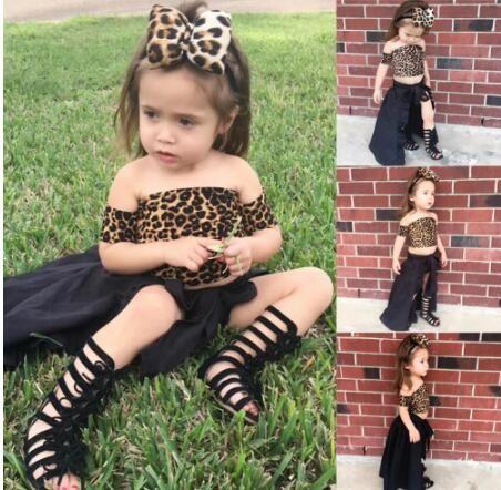 2019 4pcs Abbigliamento Bambini neonate vestiti regolati Leopard Top a coda di rondine Gonna Pantaloncini capelli della fascia del bambino vestiti delle ragazze dei bambini Set 1-5Y