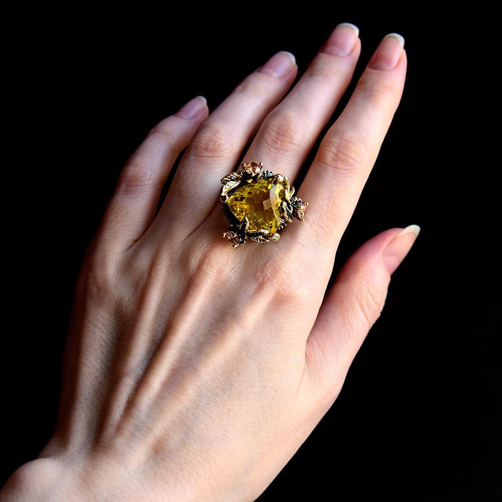 Большой Золотой треугольник камень кольцо шампанского фианитами украшени женщин Мода медные ювелирные изделия Горячие кольца для партии