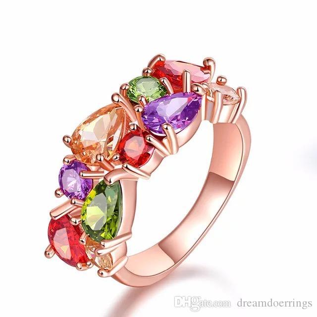 Compromiso de racimo Anillos de colores del arco iris para el banquete de boda de oro rosa Zircon Crystal Rhinestone Joyería de regalo de lujo para el amor