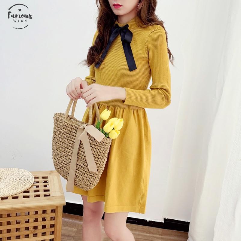 2020 Laço de borboleta Outono malha Manga comprida vestido Mulheres Doce Sólidos Magro cintura formal Estilo Knitting inferior Vestido