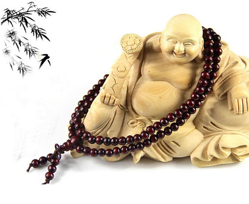 Moda sândalo madeira natural buda pulseiras homens e mulheres religião charme 108 * 8mm contas multicamadas unisex pulseiras livre