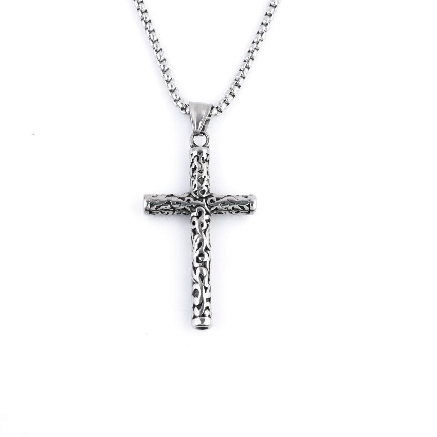 S1274 Heiße Modeschmuck Vintage Persönlichkeit Carving Kreuz Halskette Titan Stahlkette Kreuz Anhänger Halskette