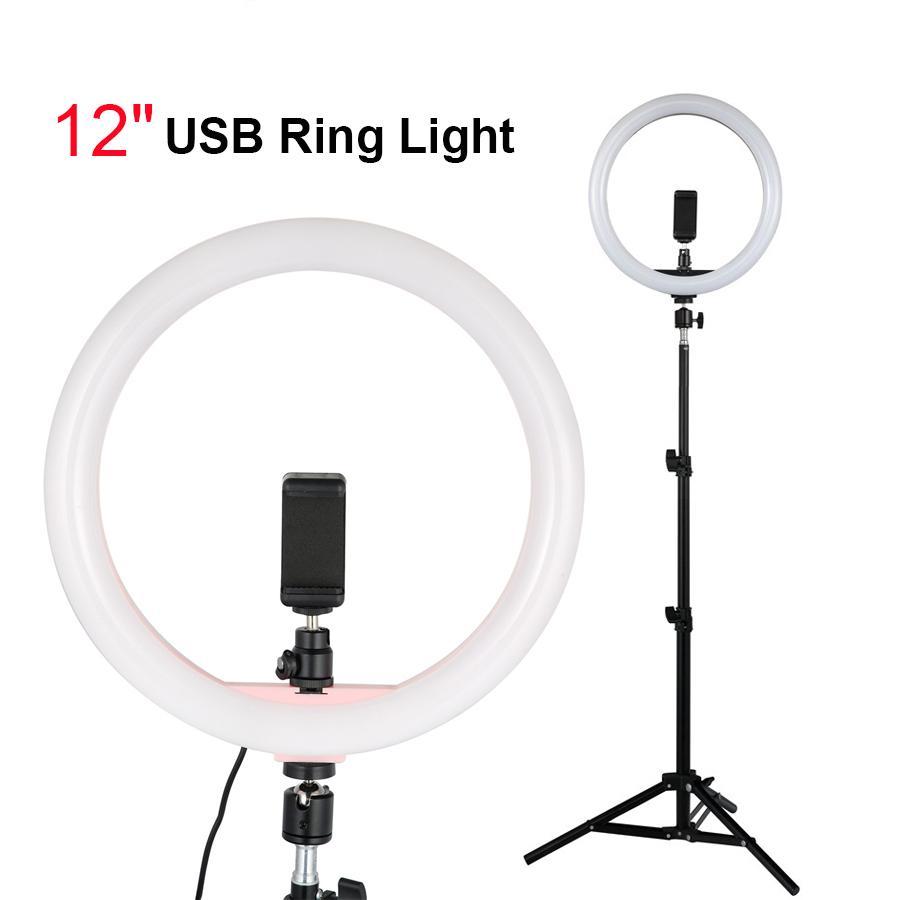 """عكس الضوء استوديو التصوير الإضاءة 12 """"خاتم سيلفي ضوء مع حامل الهاتف ترايبود 1.1 متر حامل الهاتف لايف / ماكياج كاميرا فيديو اطلاق النار"""