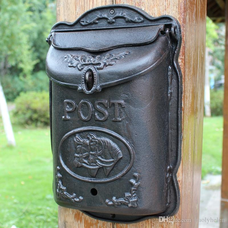 7.27KG Wall Mounted Cast Iron Mailbox Metal 2 HorseS Mail Box Wrought Iron Letter Post Box Rustic Postbox Gardon Courtyard Decor Vintage