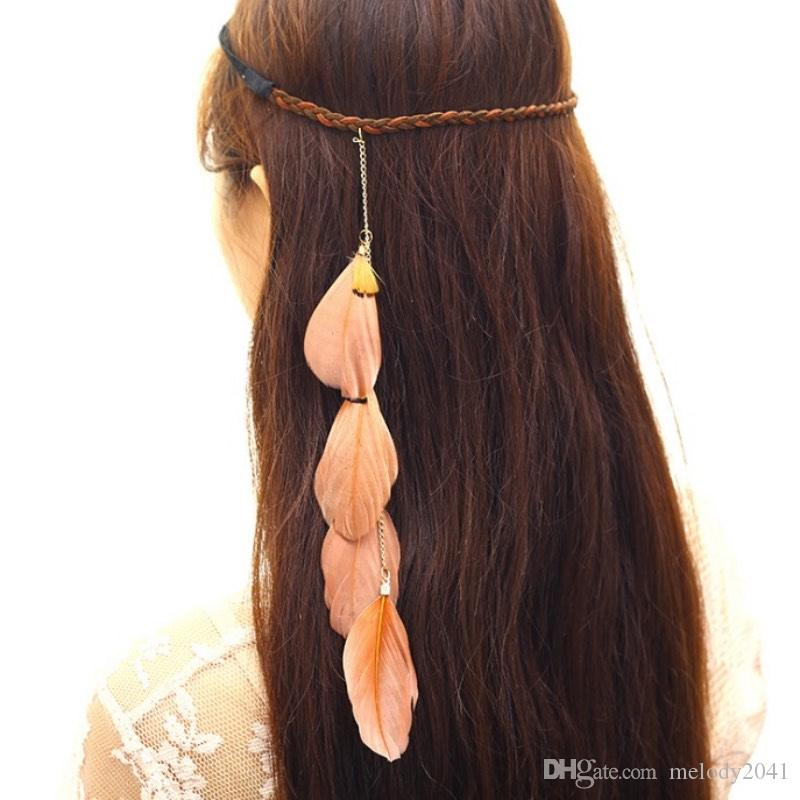 Mode Böhmische Feder Hair Gürtel Handgewebtes Seil Meer Feiertag Kreative indische Retro Kopfschmuck 2 Farben 12pcs / lot