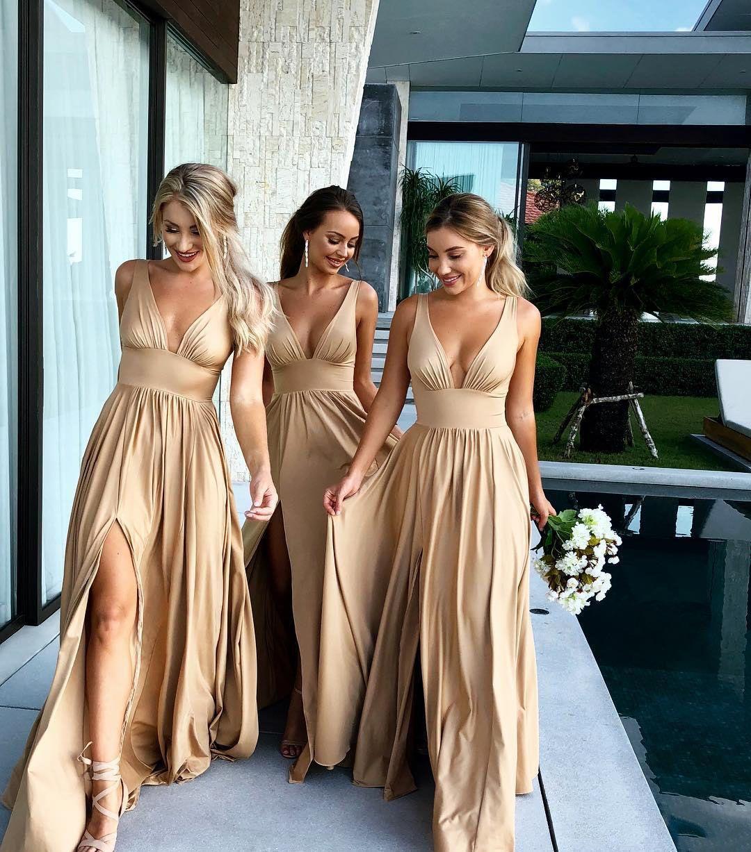 Long Side Split Bridesmaid Dresses 2019 V Neck Sleeveless A Line Floor Length Formal Wedding Guest Party Gowns Vestido De Dama De Honor