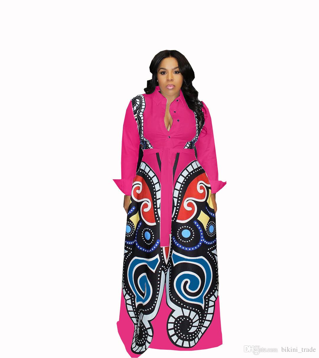 Rose red Large Swing African Print Dresses Women Clothes Plus Size Sexy Elegant Butterfly Print Dress Robe Africaine Design Clothings