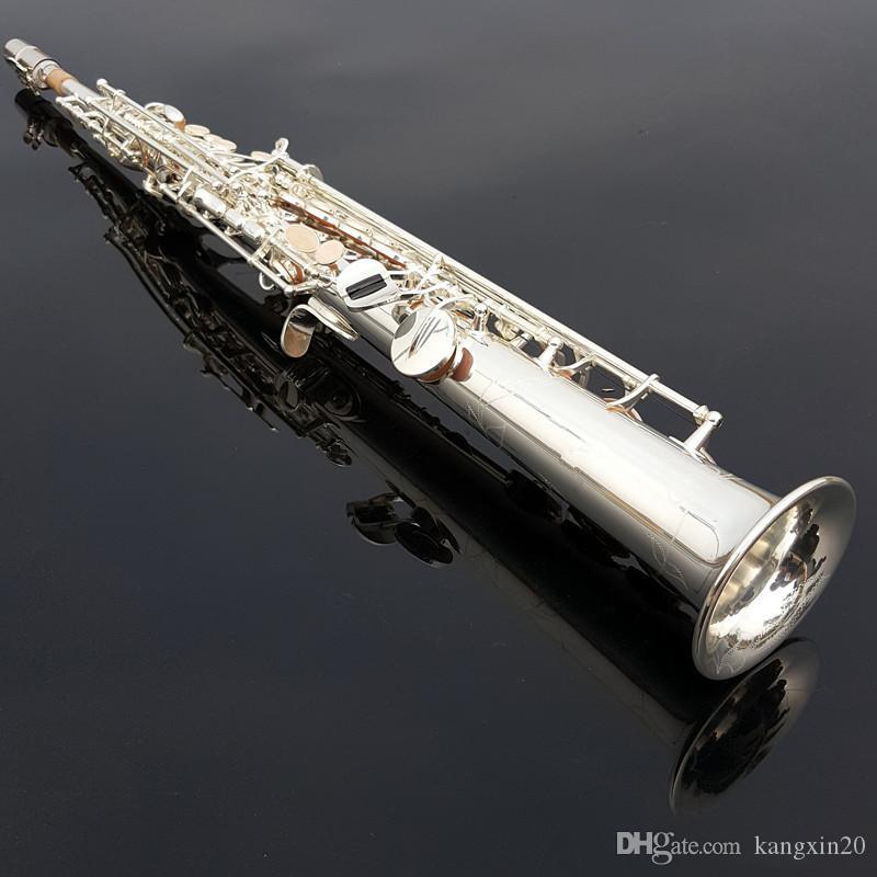 2019 TOP soprano saxophone silver sax profession Musical Instruments Mouthpiece Free shipping