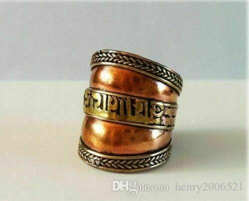 Nepal/Tibetan Tibet Silver six Word Mantra Thumb Ring,Open, adjustable