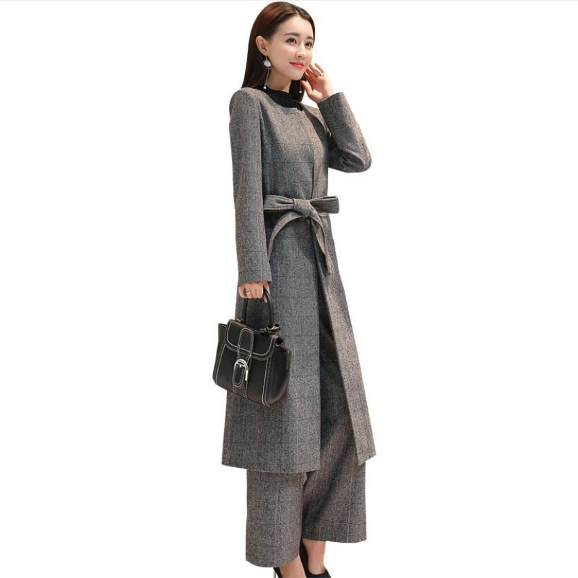 7978-8 thin section woolen cloth wide-legged pants suit two-piece outfit The spring and autumn period and the cloth coat