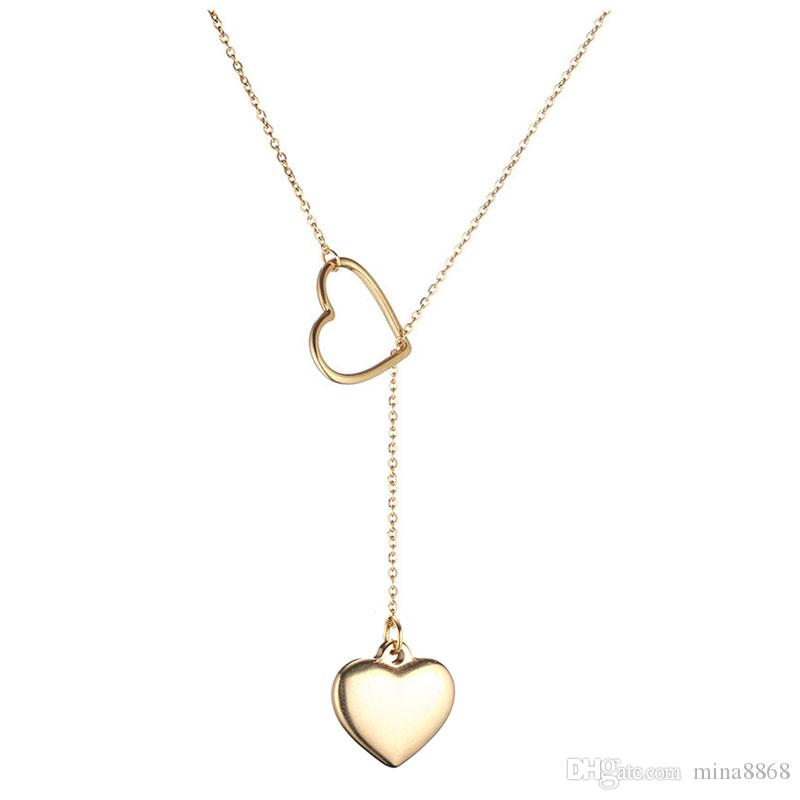 Amor Corazón Doble Diseño Deslizante Colgantes de Acero Inoxidable Collares Para Mujeres Día de San Valentín 2019 Regalo de Joyería Femenina