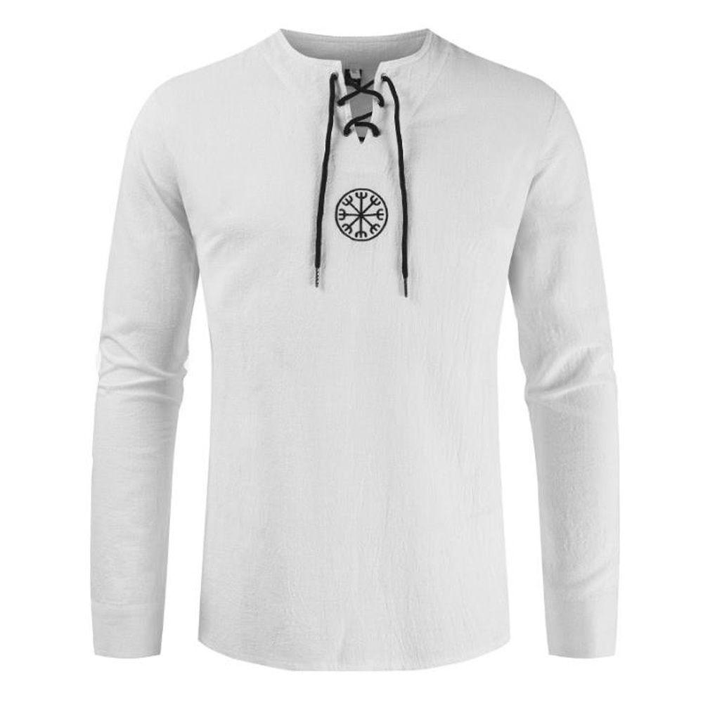 Medieval shirt Robe Renaissance Cotton Mens Vintage Retro Linen Blusa Túnica Lace Up Bandage longos da luva do traje Tops