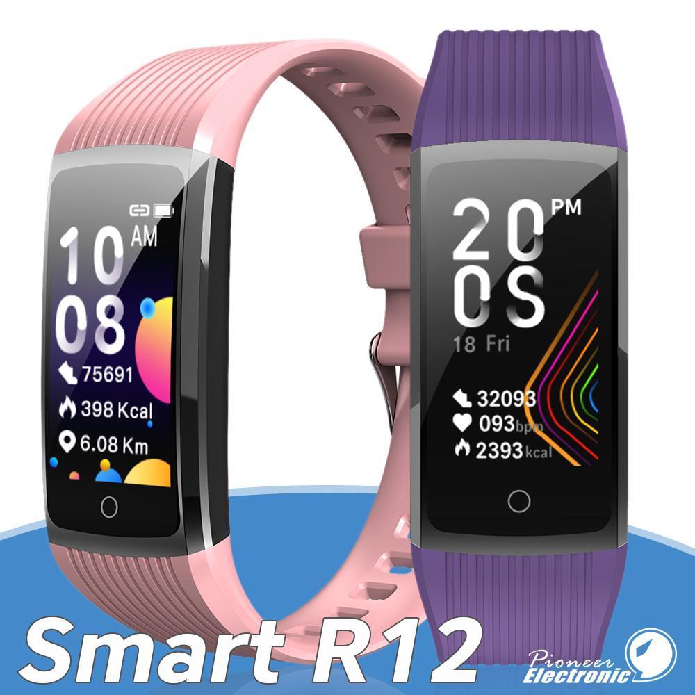 Intelligente Bracciale R12 Smartwatch Activity Tracker contapassi frequenza cardiaca di pressione sanguigna chiamata Remind IP67 impermeabile della vigilanza di sport di salute Wristband
