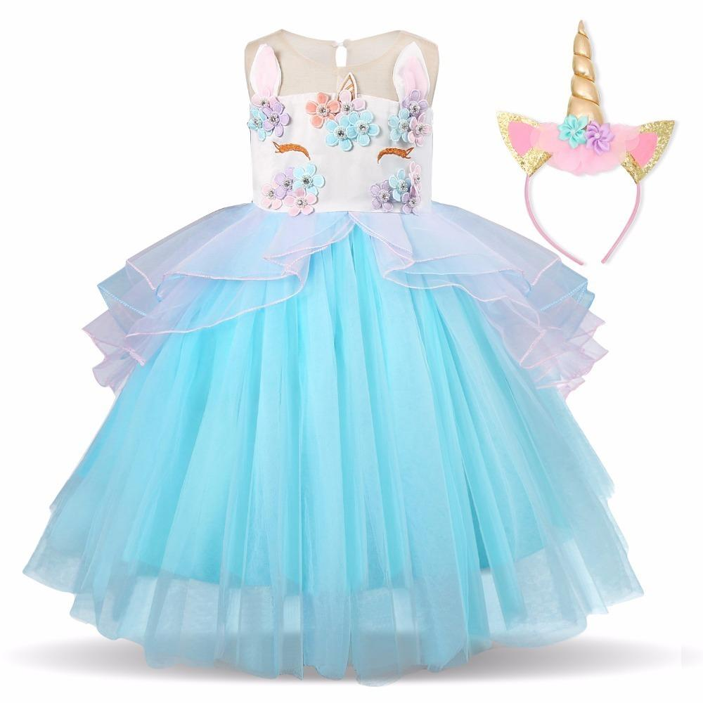 2019 Fancy Christmas Girls Dress Kids Dresses For Girls Unicorn Party Dress Children Clothing Cosplay Costume 3 4 5 6 7 8 Years J190616
