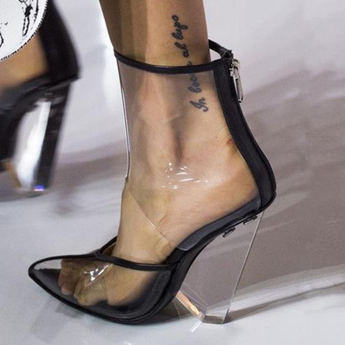 ПВХ прозрачные высокие клинья Женские сандалии Острый носок вырезы сексуальная обувь женщина верблюд задняя молния летние сандалии