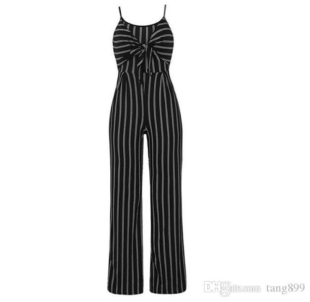 Woman Striped Jumpsuit 2019 Summer Bow Spaghetti Strap One Piece Long Pants Wide Leg Jumpsuit Party Jumpsuits