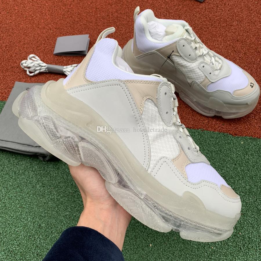 Белый Тройной S Clear Подошва кроссовок Мужчины Женщины Плоский Повседневная обувь Кожа ретро троек Low Top Lace-Up Sneaker с коробкой
