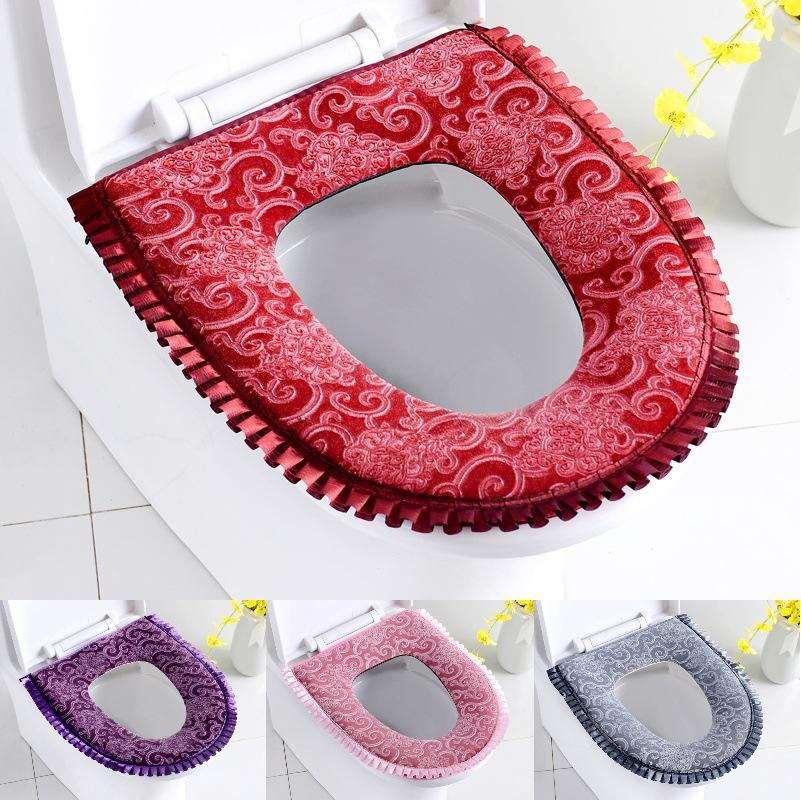 Plush Toilet Seat Covers with zipper Bathroom Soft Warm Washable Toilet Seat Cover Cushion Washable Toilet Seat Cover MTD03