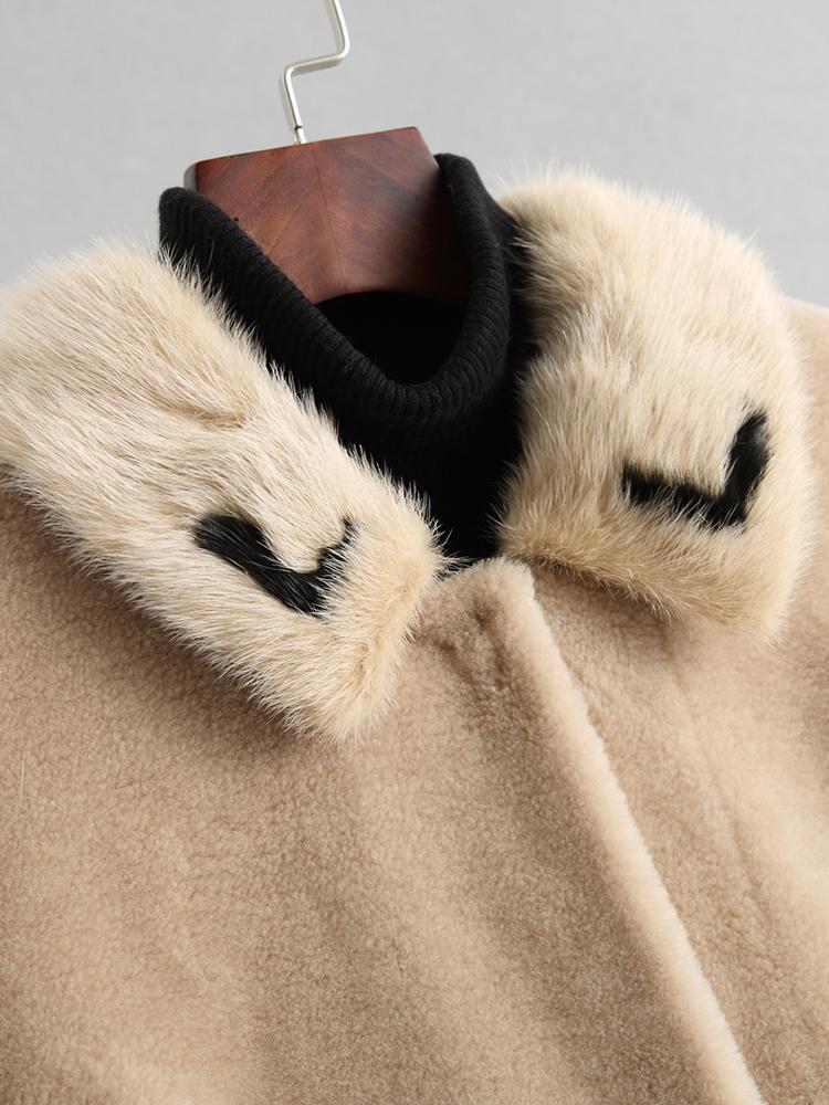 Wool Jacket Autumn Winter Coat Women Clothes 2020 Mink Fur Collar Real Fur Coat Korean Vintage Suede Lining Women Tops WPHPC2
