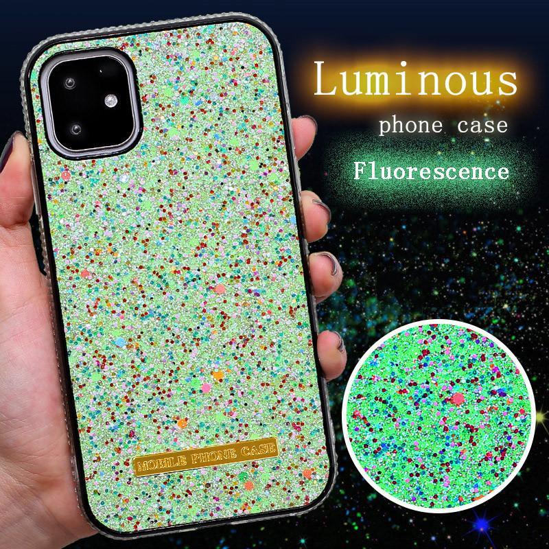 Luxo Glitter luminoso exemplo do iPhone para 11 Pro Max com diamante Quadro Para iPhone Bling-Bling Fluorescência Telefone Shell