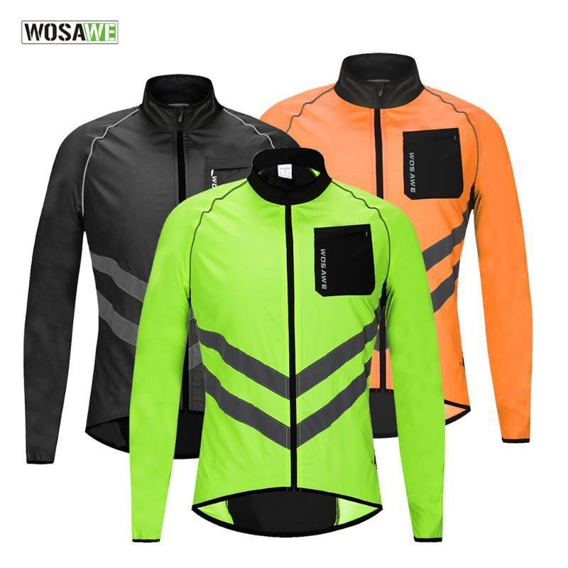 그린 / 블랙 / 오렌지 사이클링 자켓 반사 방풍 자전거 저지 긴 소매 자전거 바람 코트 안전 조끼 3XL MTB 자켓