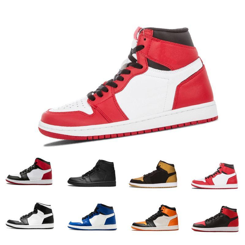 Basketbol Ayakkabıları 1 OG Yüksek siyah, kırmızı, beyaz erkekler basketbol ayakkabıları 1s spor ayakkabılar moda eğitici spor ayakkabı boyutu 40-46 11 Yasaklı