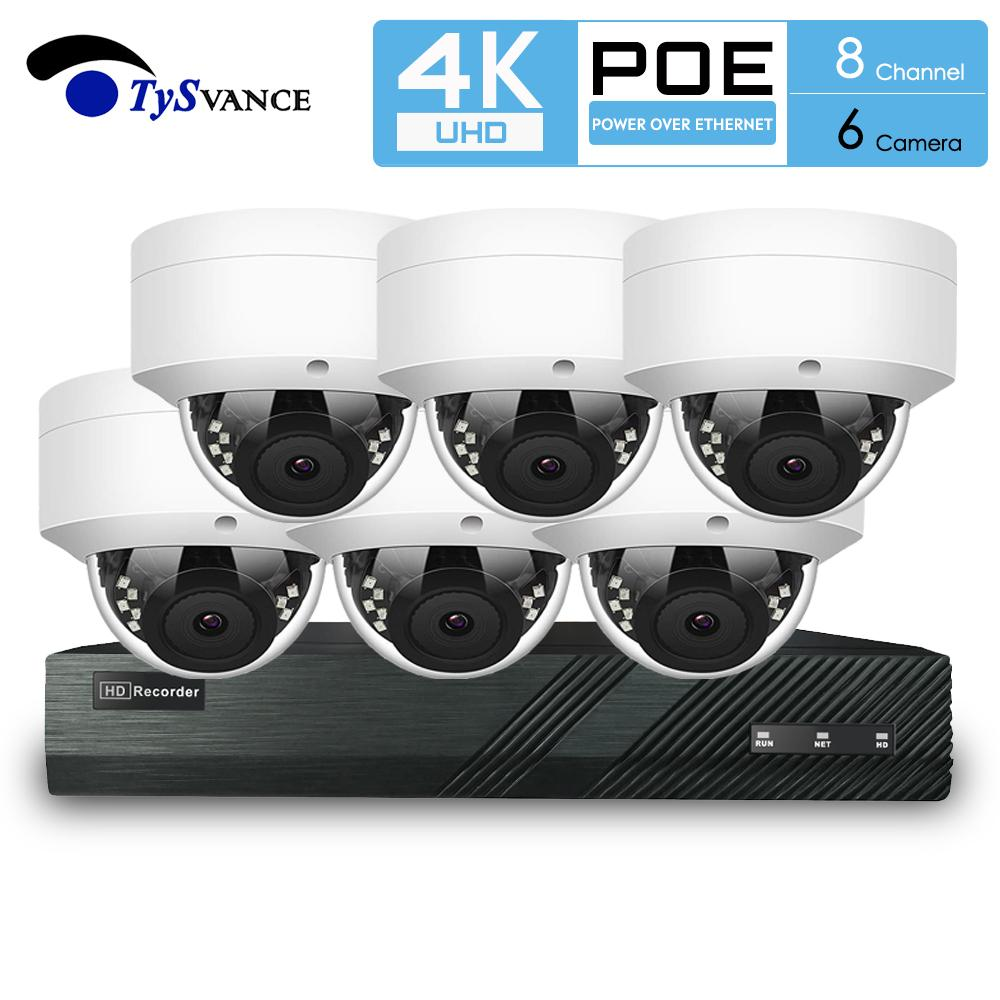 TySvacne 8MP 4K 울트라 HD 보안 카메라 시스템 8 채널 증서 NVR 6 증서 돔 IP 카메라 감시 6CH NVR 키트 TS-NVP8-HBB54A6