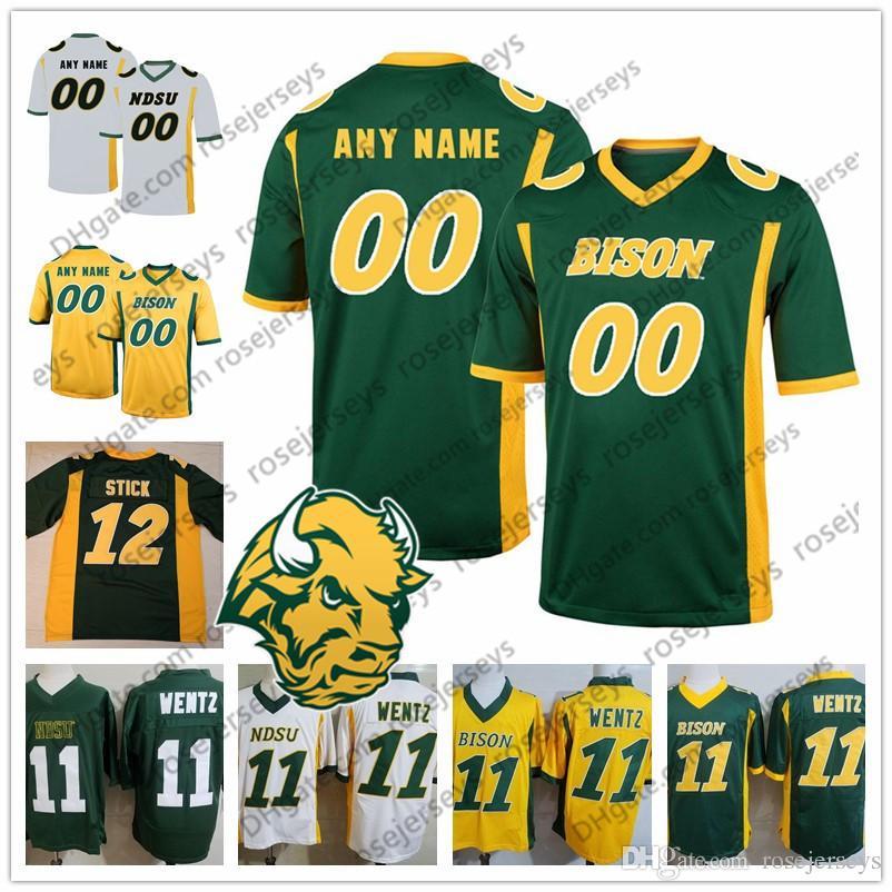 Custom NDSU Bison 2019 Football Any Number Name Yellow Green White North Dakota State 5 Trey Lance 11 Wentz Men Youth Kid Jersey