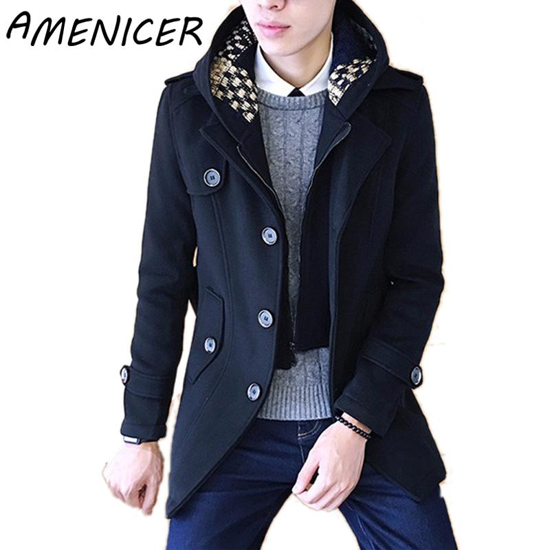 Men Slim Fit Trench Coat Hooded Single Breasted Mens Coats Windcheater Male For Long Winter Jacket Down Overcoat Raincoats