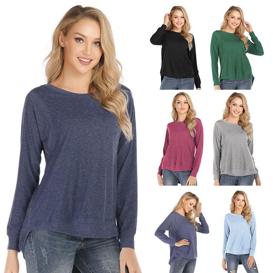 T-shirt solido Autunno maniche lunghe maglione plaid weatshirts Casual Tops Clothes O camicie collo Tee LJJA3140