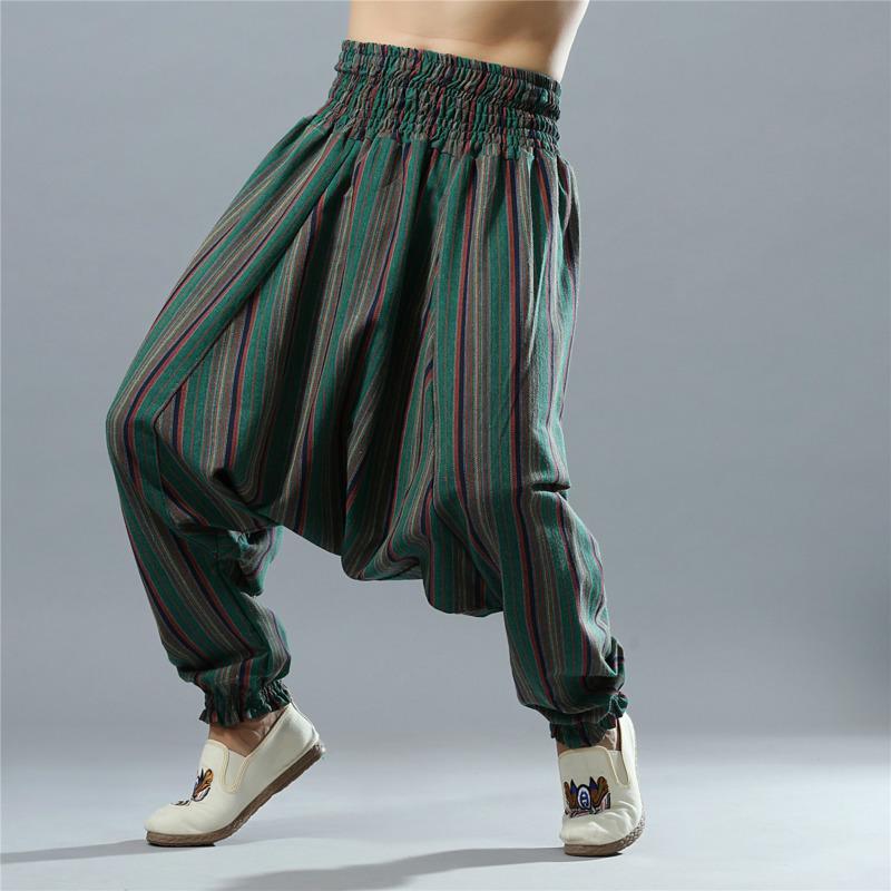 EWQ / мужская одежда 2020 весна и лето новый повседневный ручной работы полосатый хлопок и лен эластичный пояс большой промежность брюки 9Y1213
