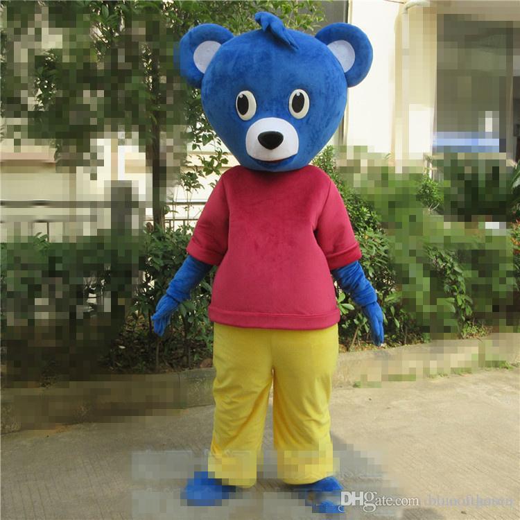 2019 Venda direta da fábrica Urso Azul mascote Do Bebê personalizado Dos Desenhos Animados Urso Bonito Vestido fantasia vestido de Festa de Aniversário do Evento de Bolso