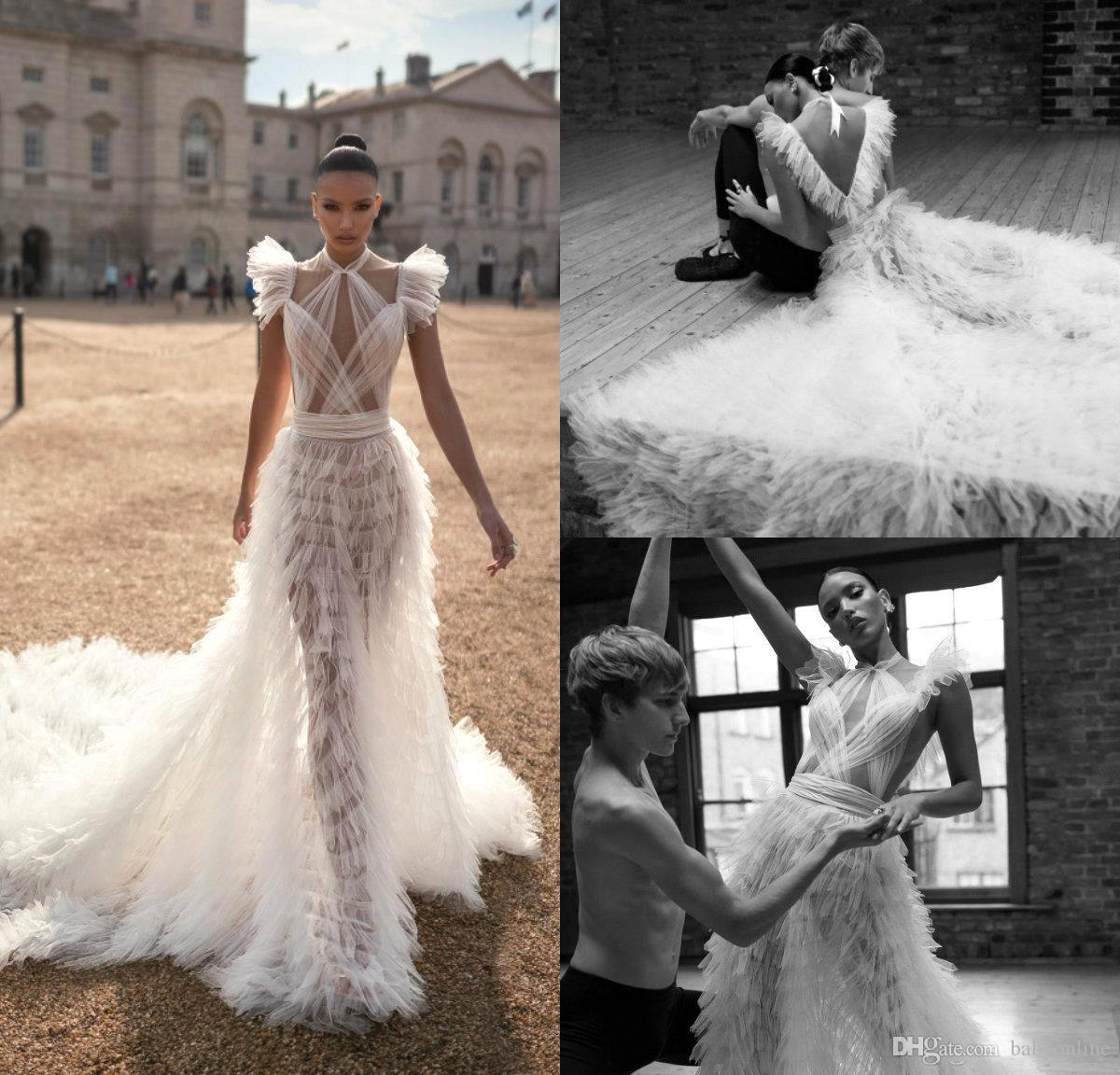2019 Lior Charchy Bohemian Wedding Dresses Halter Tiered Skirts Ruffle Illusion Sexy Backless Bridal Gowns Sweep Train Beach Wedding Dress
