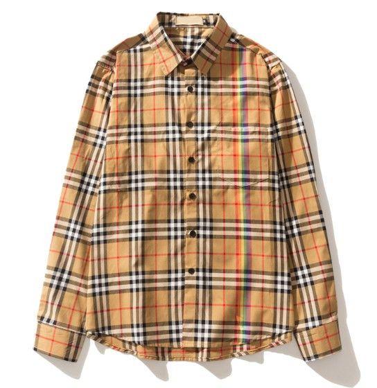 Fashion Brand mens women casual Business lapel shirt Streetwear Long Sleeve Polo shirts rainbow plaid blouse Tops