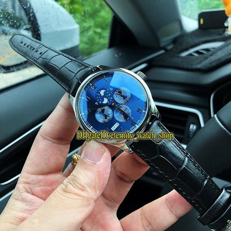 Offerta speciale di alta qualità portoghese perpetuo calendario IW503401 quadrante blu automatico IW503406 orologio da uomo cassa in acciaio orologi sportivi in pelle