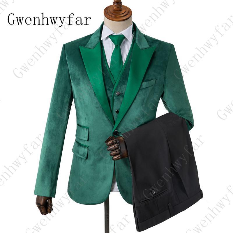Gwenhwyfar Зеленый бархатный мужской костюм черные брюки 2019 Новый стиль мужской свадебный ужин костюмы Slim Fit смокинг (куртка + брюки + жилет)