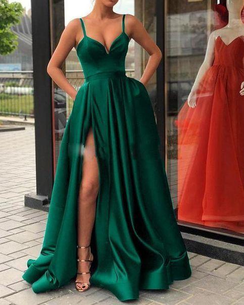 Abiti da serali ad alta spaccatura 2020 con Dubai Medio Oriente Abiti da Partile Party Prom Dress Spaghetti Straps Plus Size Vestidos de Festa