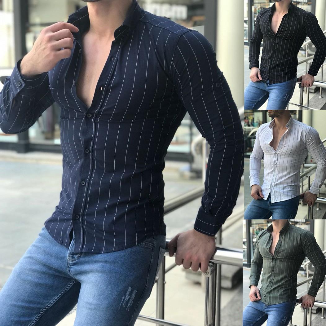 Chemises Casual Slim Fit habillée à manches longues Homme solide Hommes Chemise à rayures Taille Plus S-3XL