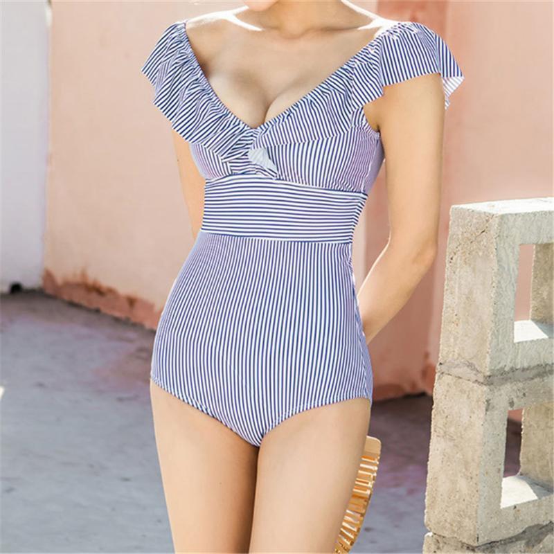 Striped Women High Waist Swimwear Sexy Female Retro V Neck Swimsuit Female Beachwear One Piece Ruffled Push Up Swimming Women