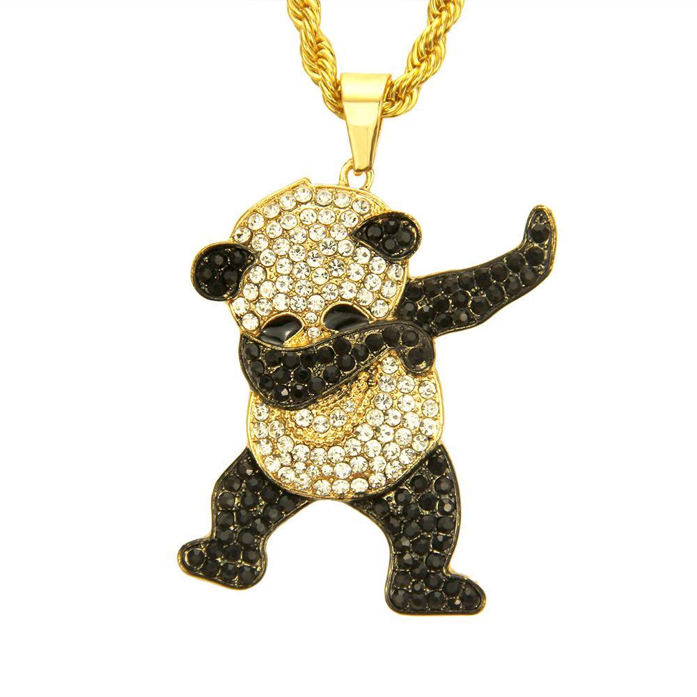 Hip Hop Dança animal engraçado Panda Iced fora pingente com torção Corrente de Ouro rock Hip Hop colares de jóias de Mens