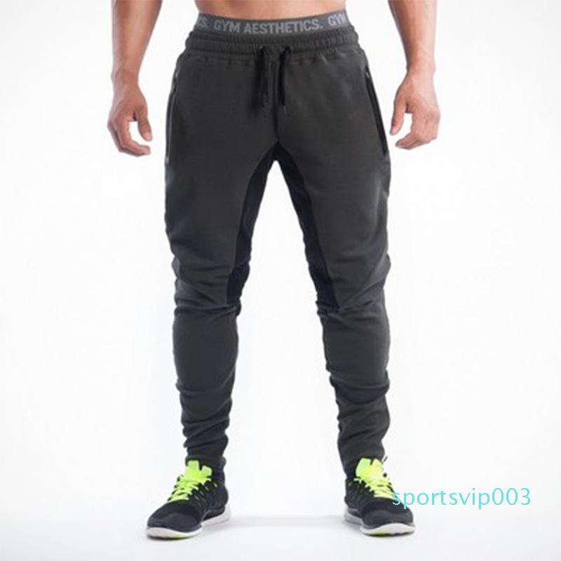 Calça de Jogging Homens Corredores da aptidão que funciona calças listradas Musculação Sweatpants Gym Training Magro Calças Esporte Homens