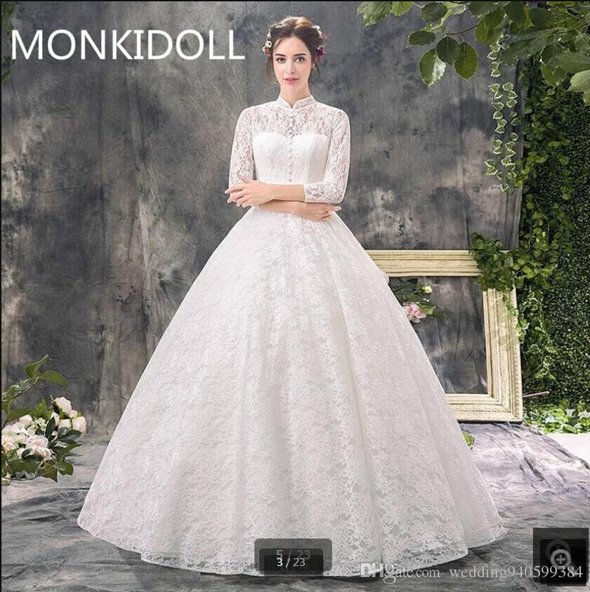 Free shipping 2019 ball gown white lace gorgeous wedding dress high neckline 3/4 sleeve hollow back sexy corset bride dress best selling