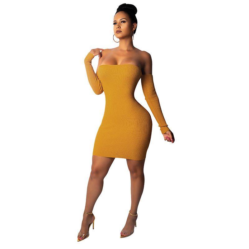 2019 Frauen der neuen Art-reizvolle trägerlose Bind Kleid mit langen Ärmeln in der Nacht Clubs Paket-Hüfte-Rock