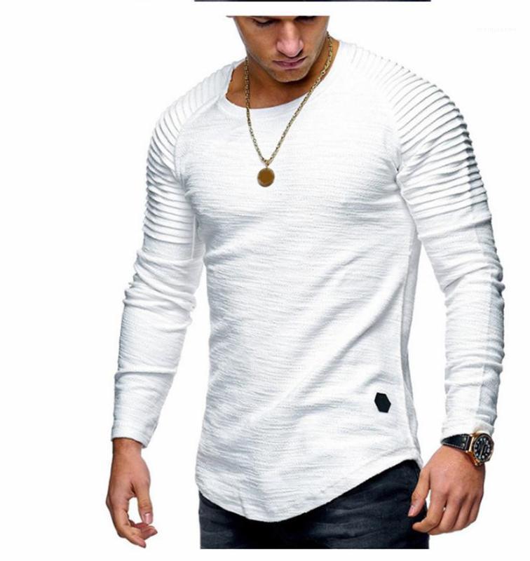 T-shirts occasionnels des hommes T-shirts 19AW des hommes Designer T-shirt ras du cou Mode de couleur unie froncé à manches longues