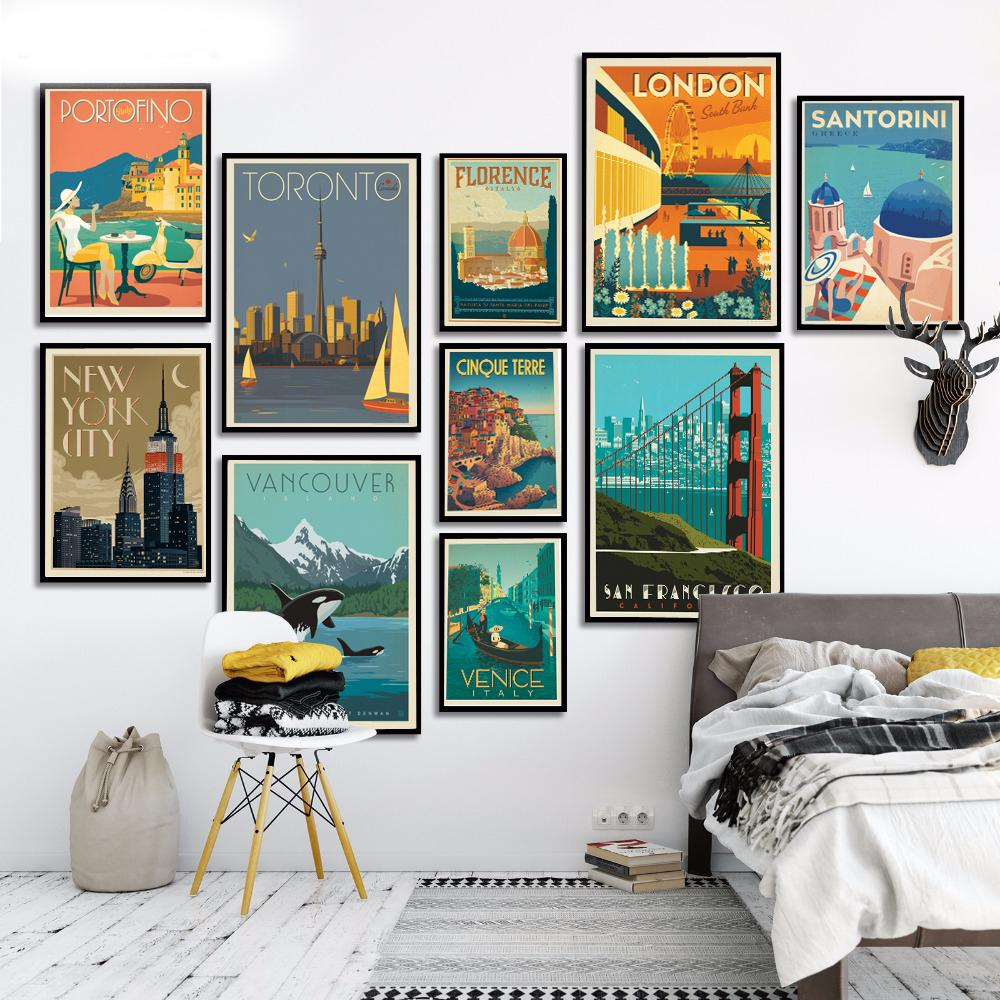 Famous City Travel London New York Venice Poster Canvas Painting Wall art Posters and Prints Wall Pictures For Living Room Decor