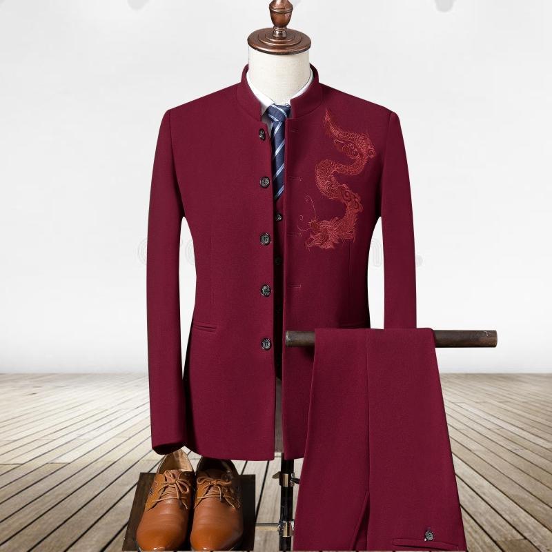 Erkekler Blazers Ve Suit Ceketler 3-Piece / Set Nakış Ejderha Desen Düğün Takım Elbise Erkek Pantolon ile Suits Siyah Beyaz Lacivert Kırmızı