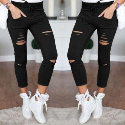 Femmes Slim Déchiré Capris De La Mode Trou Casual Coton Neuf Points Crayon Pantalon Femme Pantalon Maigre avec Taille Élastique