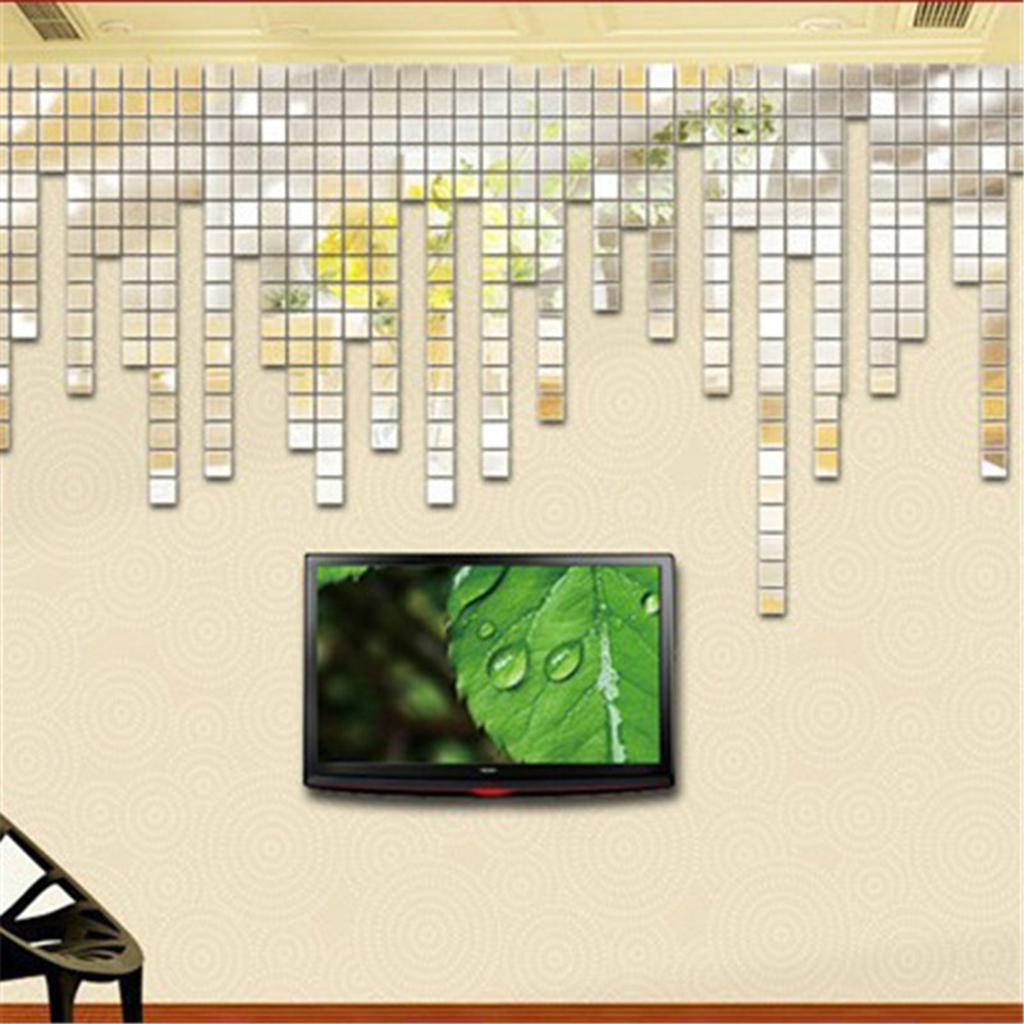 Espelho quadrado Mosaic Wall Stickers DIY removível vivo Room Decor